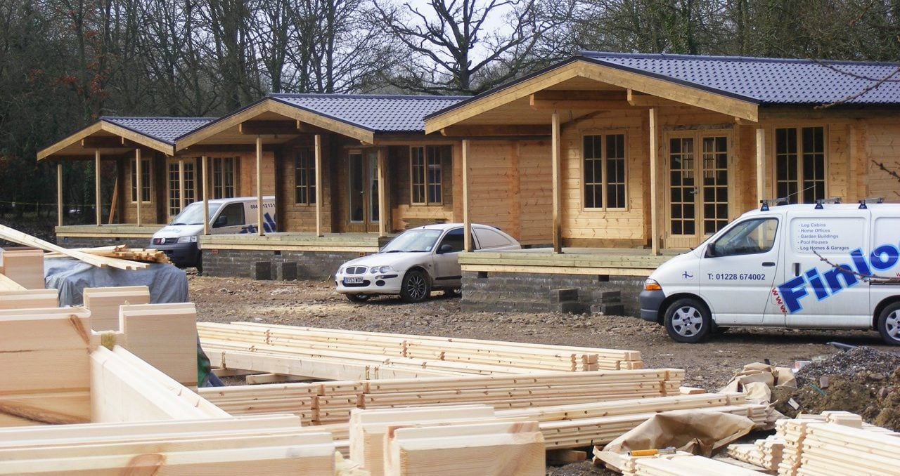 Row of log cabins