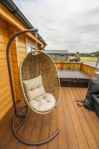 Swing outside mobile cabin