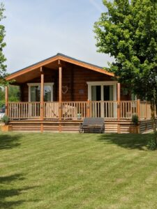 Front View of Log Cabin