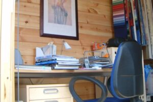 Small Log Cabin Office inside view