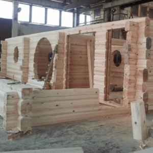 Log Building being Built in the Finnish Factory